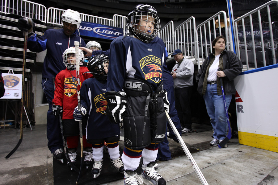 The kids wait to take to the ice at Philips Arena.